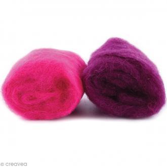Mini pelotes laine cardée - Rose fuchsia et rose prune - 10 g - 2 pcs