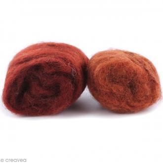 Mini pelotes laine cardée - Orange rouille et orange châtaigne - 10 g - 2 pcs