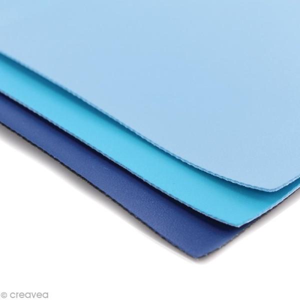 Coupons de simili-cuir - Assortiment Bleu - 16 x 20 cm - 3 pcs - Photo n°2