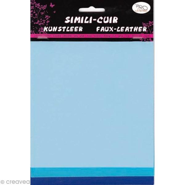 Coupons de simili-cuir - Assortiment Bleu - 16 x 20 cm - 3 pcs - Photo n°1