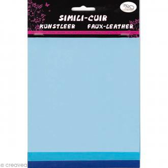 Coupons de simili-cuir - Assortiment Bleu - 16 x 20 cm - 3 pcs