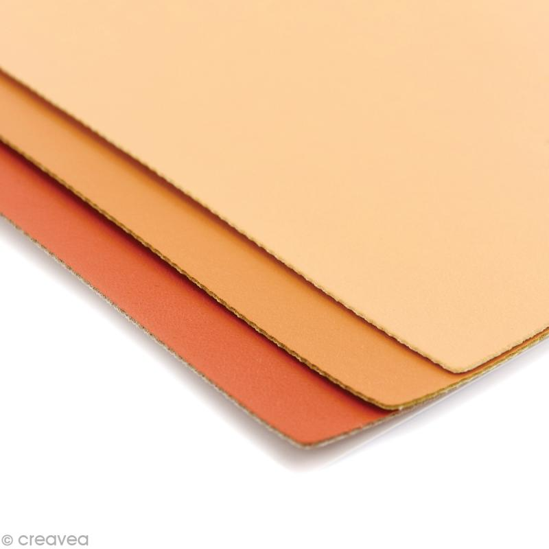 coupons de simili cuir assortiment orange 16 x 20 cm 3 pcs coupon simili cuir creavea. Black Bedroom Furniture Sets. Home Design Ideas