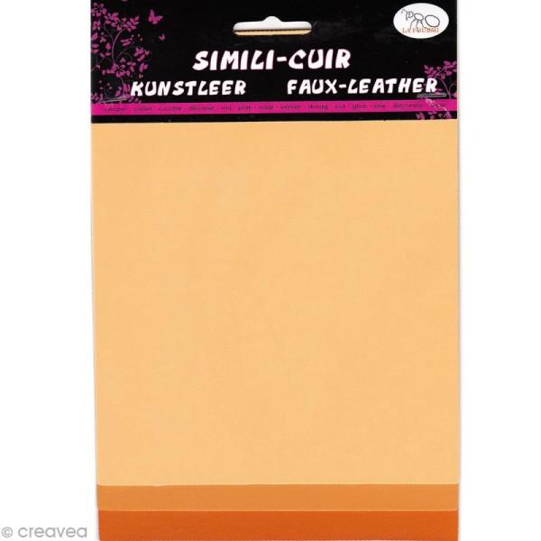 Coupons de simili-cuir - Assortiment Orange - 16 x 20 cm - 3 pcs - Photo n°1