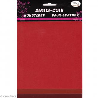 Coupons de simili-cuir - Assortiment Rouge - 16 x 20 cm - 3 pcs