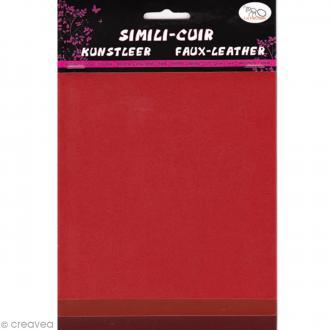 Coupons de simili-cuir - Assortiment Rouge - 16 x 20 cm - 3 pcs