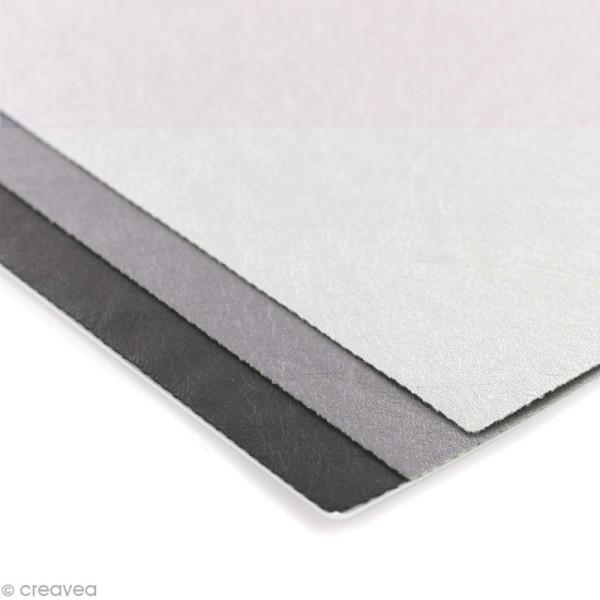 Coupons de simili-cuir métallisé - Assortiment Argenté - 16 x 20 cm - 3 pcs - Photo n°2