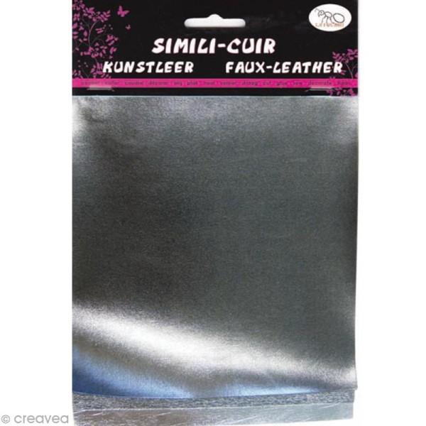 Coupons de simili-cuir métallisé - Assortiment Argenté - 16 x 20 cm - 3 pcs - Photo n°1