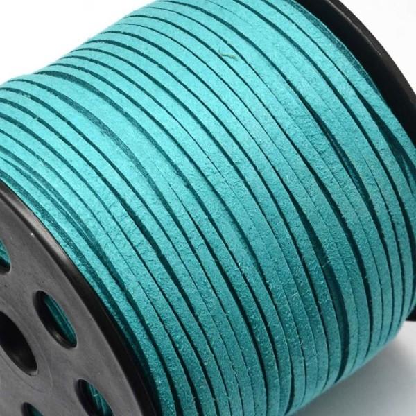 3 m de Cordon Plat en Suedine Aspect Daim Vert Turquoise - Livraison Gratuite - Perles - Photo n°2