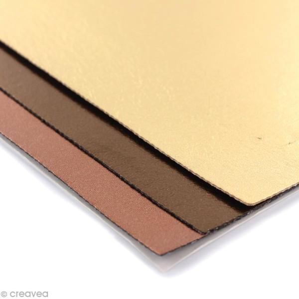 Coupons de simili-cuir métallisé - Assortiment Doré - 16 x 20 cm - 3 pcs - Photo n°2