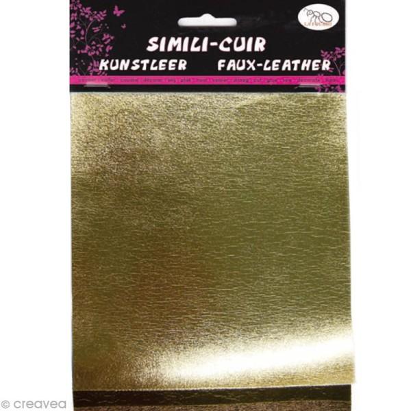 Coupons de simili-cuir métallisé - Assortiment Doré - 16 x 20 cm - 3 pcs - Photo n°1