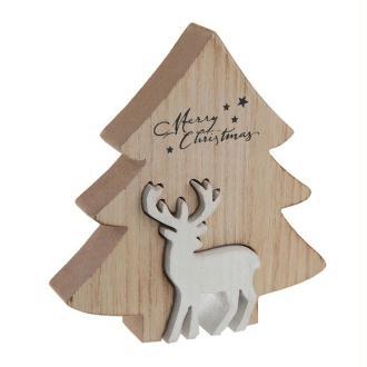 Décor de Noël sapin en bois naturel et son renne blanc 12 cm