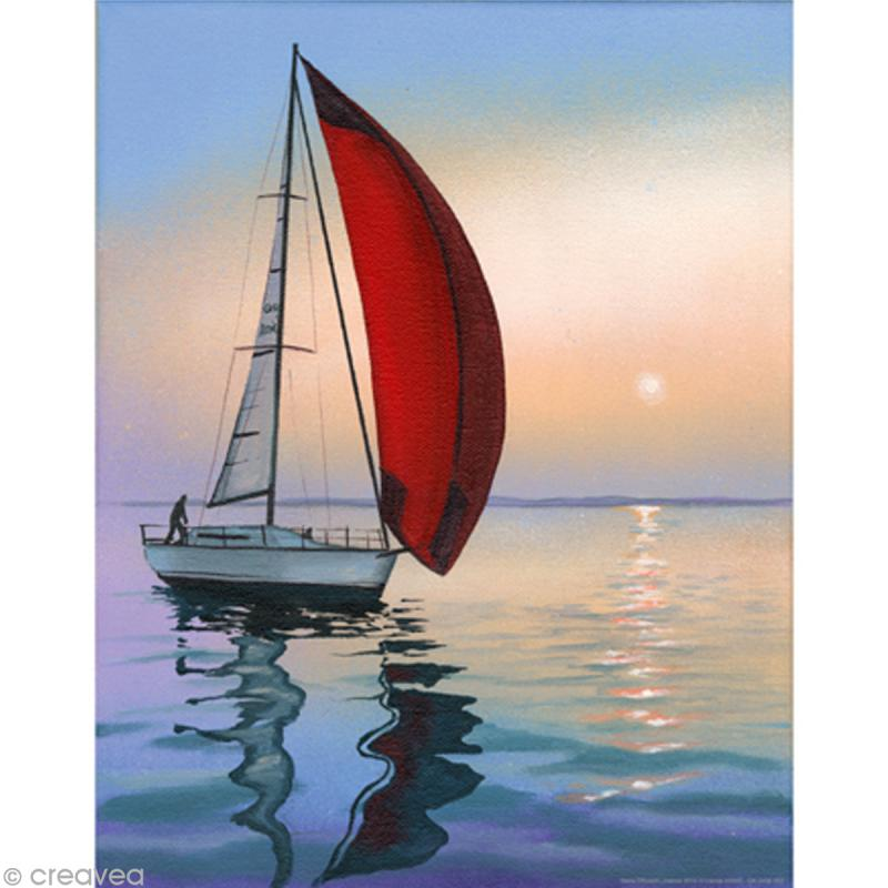 Image 3D Paysage - Bateau solitaire - 24 x 30 cm - Photo n°1