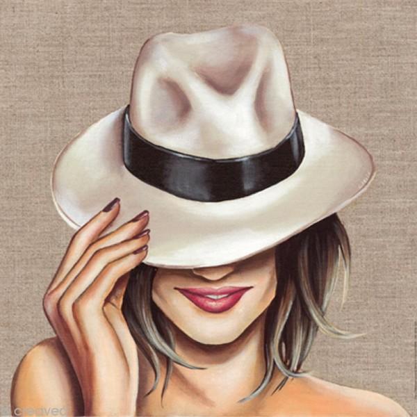 Image 3D Femme - Chapeau blanc - 30 x 30 cm - Photo n°1