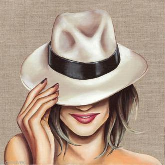 Image 3D Femme - Chapeau blanc - 30 x 30 cm