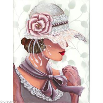 Image 3D Femme - Chapeau dentelle - 30 x 40 cm