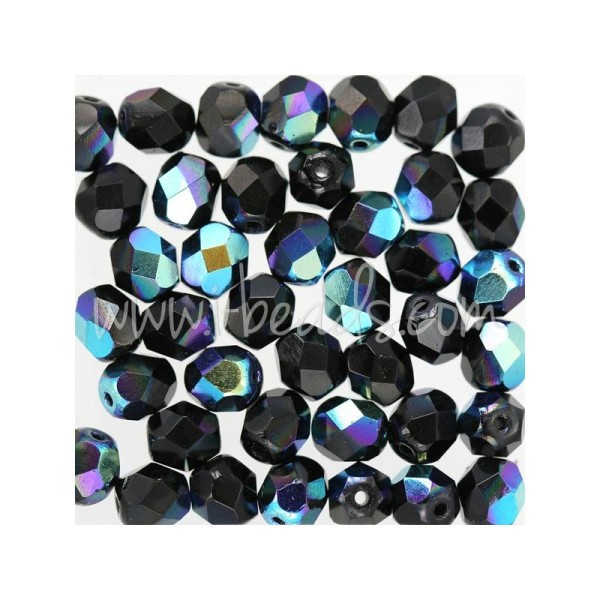 Perles facettes de bohème jet ab 6mm (50) - Photo n°1