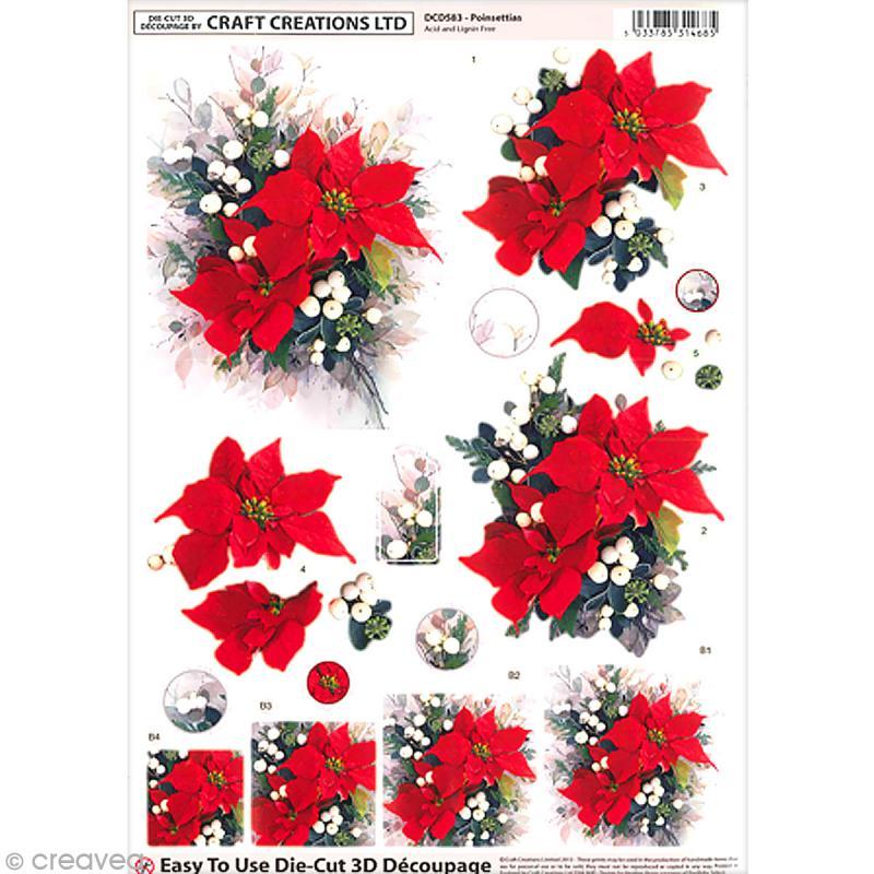 Carte 3D pré-découpée - Roses de Noël - A4 - Photo n°1
