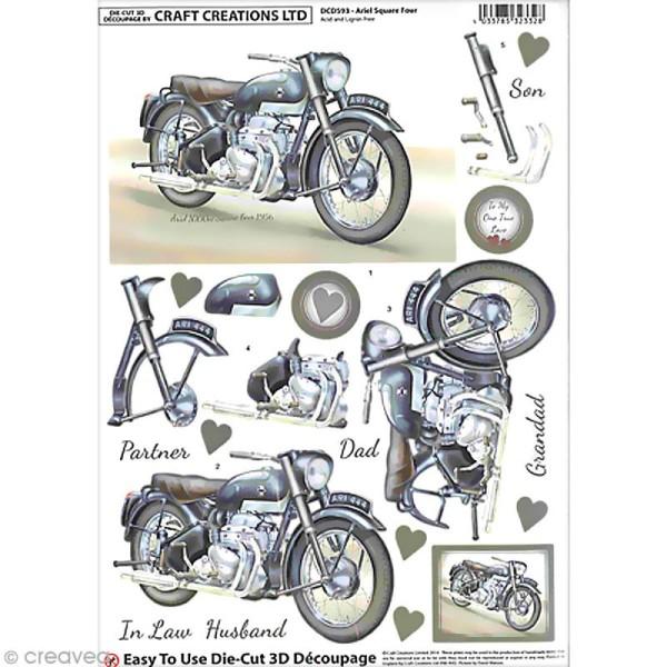 Carte 3D pré-découpée - Moto - A4 - Photo n°1