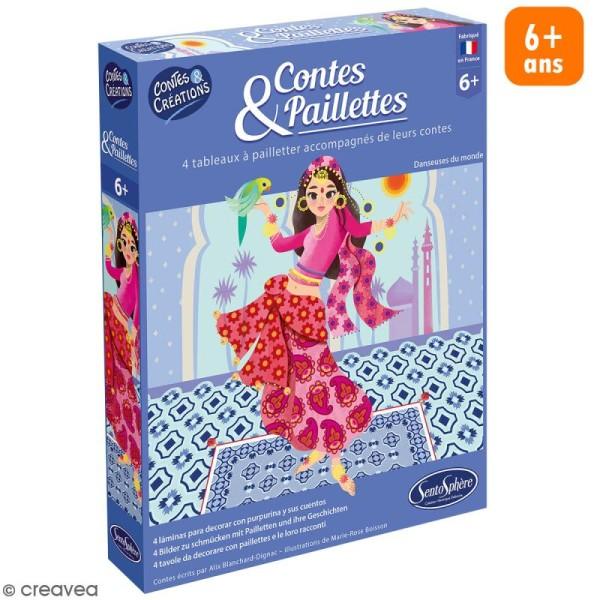 Coffret créatif contes et paillettes - tableaux Danseuses à pailleter - 4 pcs - Photo n°1