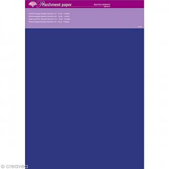 Papier parchemin Pergamano Moments précieux - Bleu marine - A4 - 150 g - 5 feuilles