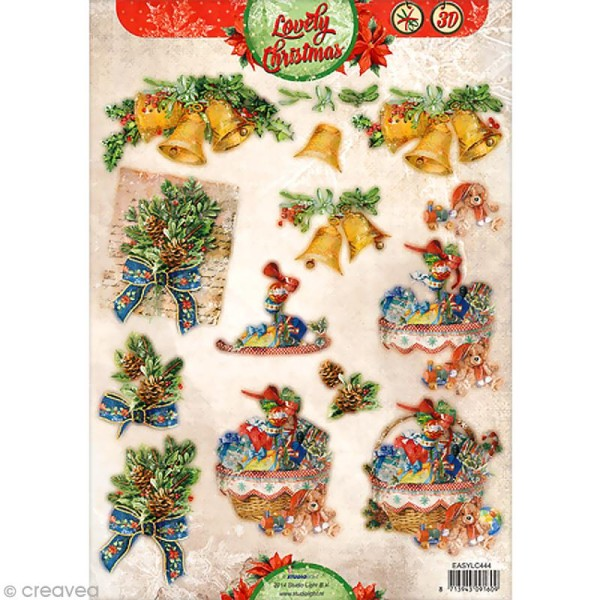 Carte 3D pré-découpée - Noël cloches - A4 - Photo n°1