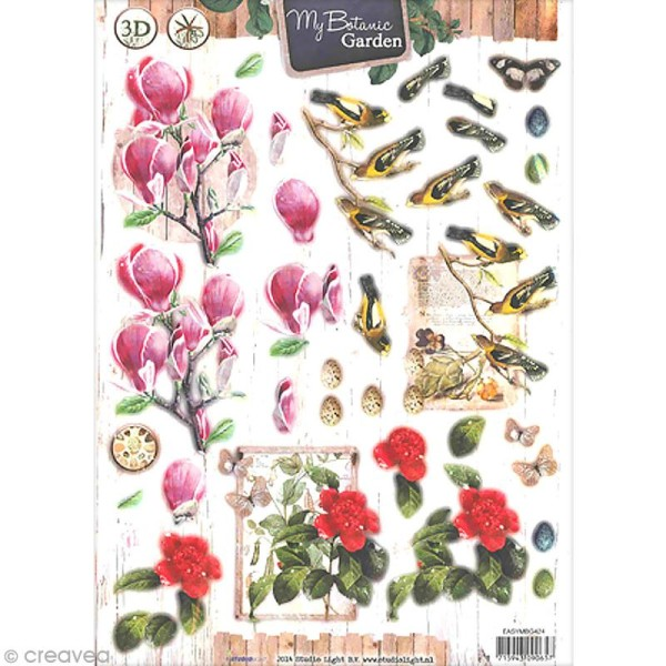 Carte 3D pré-découpée - Botanique oiseaux - A4 - Photo n°1