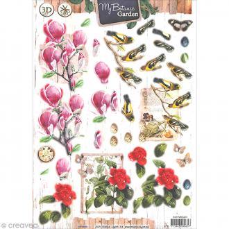 Carte 3D pré-découpée - Botanique oiseaux - A4