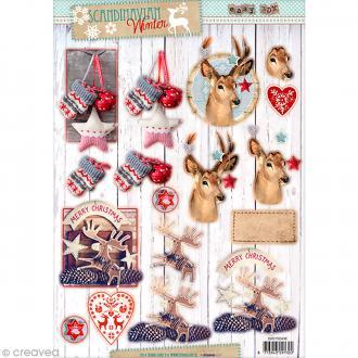 Carte 3D pré-découpée - Noël scandinave rennes - A4