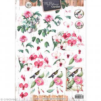 Carte 3D à découper - Botanique fleurs roses - A4