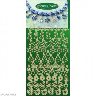 Stickers breloques - Noël miroir vert - 23 x 10 cm - 72 pcs