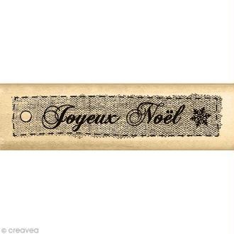 Tampon Noël - Un doux matin d'hiver - Etiquette en tissu - 2 x 7 cm