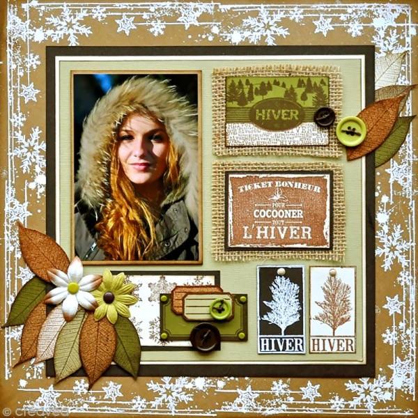 Tampon Un doux matin d'hiver - Flocons usés - 6 x 8 cm - Photo n°2