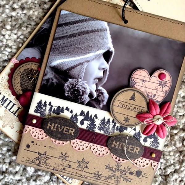 Tampon Un doux matin d'hiver - Flocons usés - 6 x 8 cm - Photo n°3