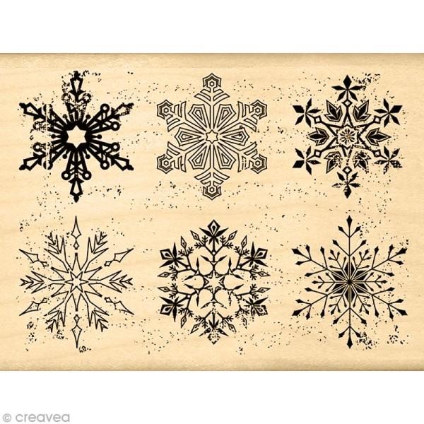 Tampon Un doux matin d'hiver - Flocons usés - 6 x 8 cm - Photo n°1