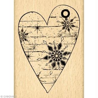Tampon Un doux matin d'hiver - Coeur d'hiver - 7 x 5 cm