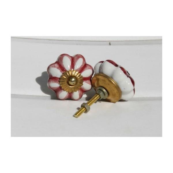 Bouton rond de porte ou tiroir, blanc et noir,  de 45 mm de diamètre. - Photo n°2