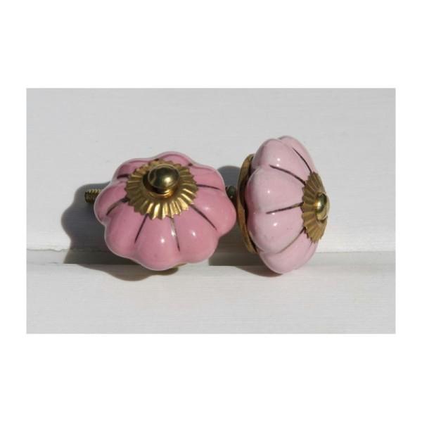 Bouton rond de porte ou tiroir, rose et doré,  de 45 mm de diamètre. - Photo n°2