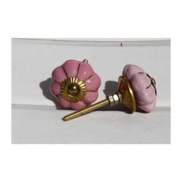Bouton rond de porte ou tiroir, rose et doré,  de 45 mm de diamètre. - Photo n°1