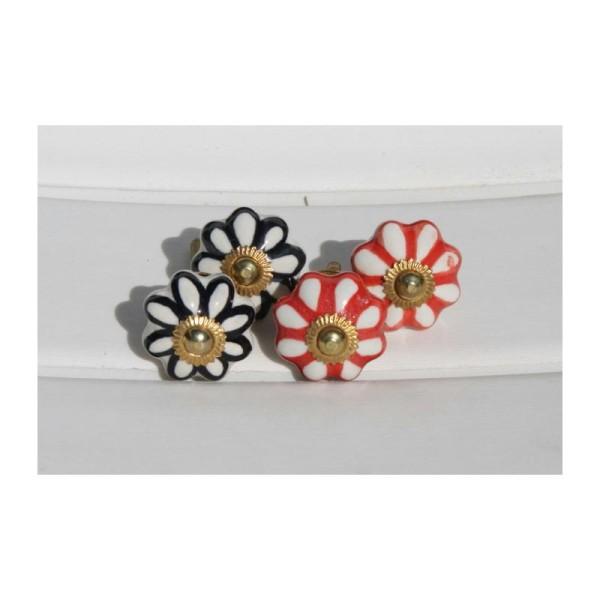 Bouton rond de porte ou tiroir, blanc et rouge,  de 35 mm de diamètre. - Photo n°2