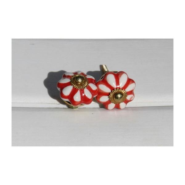 Bouton rond de porte ou tiroir, blanc et rouge,  de 35 mm de diamètre. - Photo n°1
