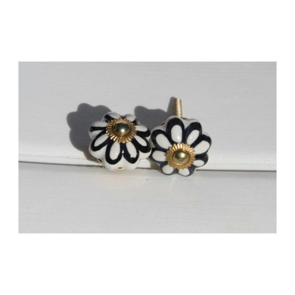Bouton rond de porte ou tiroir, blanc et noir,  de 35 mm de diamètre. - Photo n°1