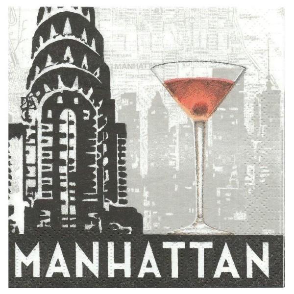 4 Serviettes en papier Manhattan Format Cocktail - Photo n°1