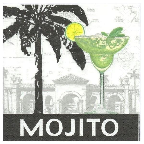 4 Serviettes en papier Mojito Format Cocktail - Photo n°1