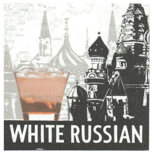 4 Serviettes en papier White Russian Russe Blanc Format Cocktail - Photo n°1