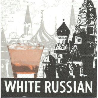 4 Serviettes en papier White Russian Russe Blanc Format Cocktail