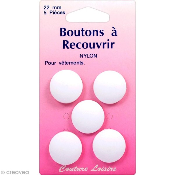 Bouton nylon à recouvrir - 22 mm - 5 pcs - Photo n°1