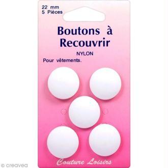 Bouton nylon à recouvrir - 22 mm - 5 pcs