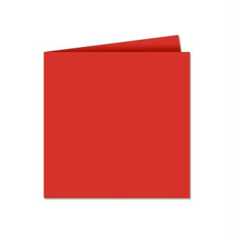 Papier Pollen carte double 135 x 135 Rouge corail x 25