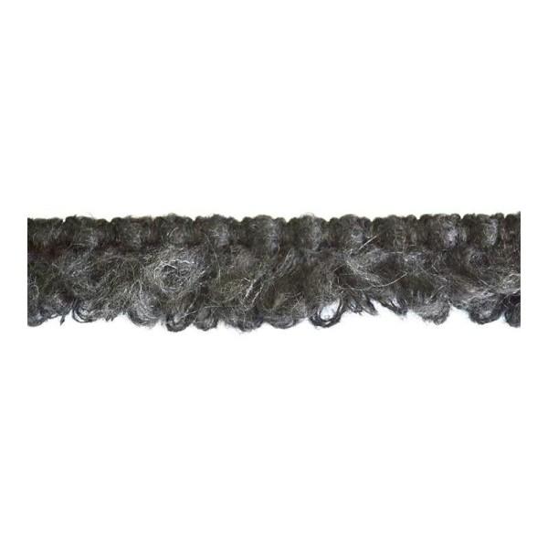 Galon laineux à franges noir 40mm - Photo n°1