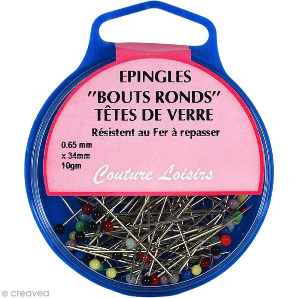 Epingles bouts ronds têtes de verre - 95 pcs - Photo n°1